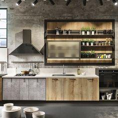 Multiple #wood finishes and #concrete are used brilliantly in this #kitchen #kitchendesign #hisperspective #interiordesigner #inspiration #interior #interiordesign #decor #mymancave #loft #loftstyle