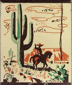 Vintage matchbook graphic, Mexican scene