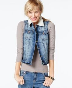 INC International Concepts Faux-Shearling Cropped Denim Vest, Mid-Indigo Wash, Only at Macy's