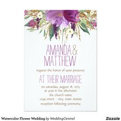 Watercolor Flower Wedding 5x7 Paper Invitation Card