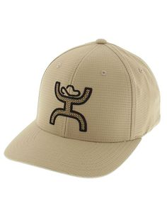 "HOOey Ultimate Khaki ""Hands Up"" Cap -This cap features a ""cool and dry"" fabric that wicks moisture in a khaki and black design with a raised ""hands up"" logo and a comfortable Flexfit elastic sweat band."
