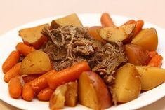 Sounds AMAZING: Best Pot Roast Ever! (in the CrockPot) - What you need: 2-5 pound pot roast (any kind), 1 envelope EACH: ranch dressing (dry), Italian dressing, brown gravy mix, potatoes & carrots, 1 to 1-1/2 cup water. 1* Cut potatoes & carrots to your liking & put in the bottom of CrockPot. 2* Put Roast on top of veggies (fat side up). 3* Sprinkle all 3 dry mixes on top. 4* Pour water evenly over the top... cook all day.