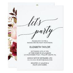 #flower - #Elegant Calligraphy | Floral Backing Let's Party Card