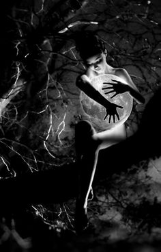 Creeping into the tree, she plucked the moon from its branch and held it like it was her own. LH