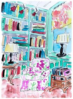 """Original painting """"Green Study room."""" Wall art books and bookshelf. Home decor Pink Floral Couch In Room. Watercolour ink pen room painting."""