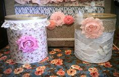Transformed my daughters Enfamil Formula Cans into a Shabby Chic Storage Can