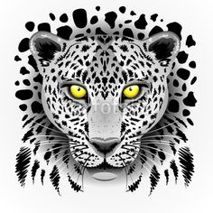 SOLD Extended! Thanks! ★ #White #Leopard with #Yellow #Eyes #Vector #Art ★  by #BluedarkArt http://it.fotolia.com/id/64997592