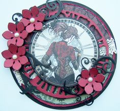 Spellbinders circle card, kanban steampunk shaped card, tim holtz weathered clock die