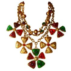 Chanel 70's Gripoix Glass 3-row Maltese Cross Necklace