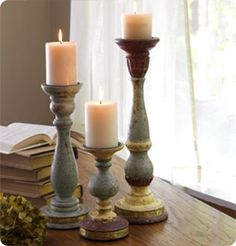 A set of three candlesticks beautifully distressed with gold, teal, and maroon. Each candlestick has a verse embossed in brass around the base providing the perfect reminder of Blessing, Love and Grace. Christmas Projects, Home Projects, Decorating Your Home, Diy Home Decor, Walk In The Light, Mary And Martha, Candle Lanterns, Fireplace Mantels, Diy Painting