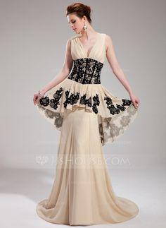 Evening Dresses - $152.99 - A-Line/Princess V-neck Sweep Train Chiffon Evening Dress With Ruffle Lace Beading Sequins (017019759) http://jjshouse.com/A-Line-Princess-V-Neck-Sweep-Train-Chiffon-Evening-Dress-With-Ruffle-Lace-Beading-Sequins-017019759-g19759?ver=xdegc7h0