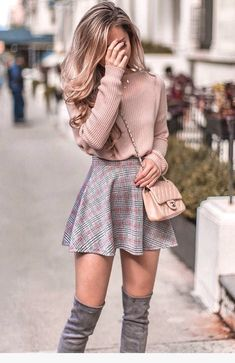 Pastel pink knit sweater, skater skirt and over the knee boots outfit for fall. … Pastel pink knit sweater, skater skirt and over the knee boots outfit for fall. Same sweater in link! Classy Winter Outfits, Cute Summer Outfits, Winter Fashion Outfits, Cute Casual Outfits, Fashion Clothes, Classy Outfits For Teens, Cute Outfits For Girls, Winter Fashion For Teen Girls, Casual Dresses For Winter
