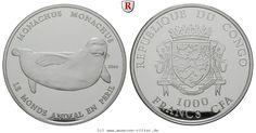 RITTER Congo, 1000 Francs 2008, Mittelmeer-Mönchsrobbe, PP #coins