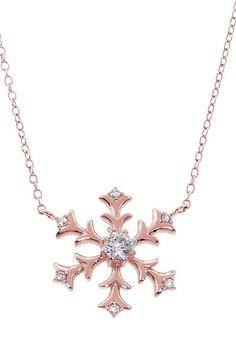 Rose Gold & Cubic Zirconia Snowflake Pendant Necklace