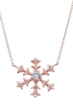 Rose Gold & Cubic Zirconia Snowflake Pendant Necklace