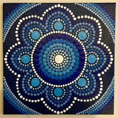 Handmade 5x5-inch Blue Dot Mandala Canvas Dot Painting Dot