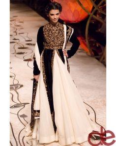 DE Pleasing White Black And Golden Designer Lehenga