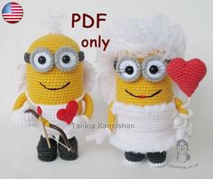 Valentine Minion Bundle amigurumi crochet patterns by jasminetoys Crochet Patterns Amigurumi, Crochet Dolls, Crochet Stitches, Cute Crochet, Crochet Crafts, Minion Crochet Patterns, Minion Christmas, Crochet Mignon, Newborn Toys