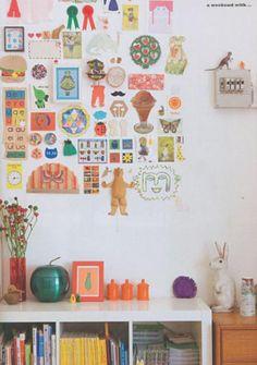 DIY wall deco inspiration of kids arty things Room Inspiration, Interior Inspiration, Interior Ideas, Kids Corner, Kid Spaces, Kids Decor, Kids Bedroom, Sweet Home, Gallery Wall