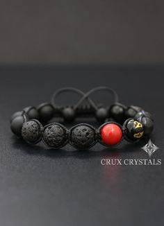 Hey, I found this really awesome Etsy listing at https://www.etsy.com/ru/listing/251287370/red-spot-mens-beaded-bracelet-lava-rock