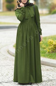 Önden Düğmeli Fularlı Elbise - Yeşil
