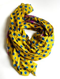 Silk Scarf Long Hand Made Polka Dots Scarve Tocamade by tocamade,