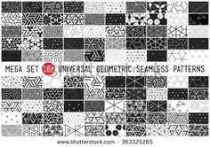 100 Universal different geometric seamless patterns. Endless vector texture can be used for wrappingwallpaper, pattern fills, web background,surface textures. Set of monochrome geometric ornaments - stock vector
