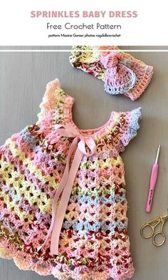 Oh, this adorable baby dress is everything! This is how I imagine the very essence of cuteness. The pastel rainbow effect created by this amazing ombre yarn… Crochet Toddler, Baby Girl Crochet, Crochet Baby Clothes, Crochet For Kids, Crochet Dresses, Crochet Summer, Crochet Baby Dress Free Pattern, Baby Dress Patterns, Baby Clothes Patterns