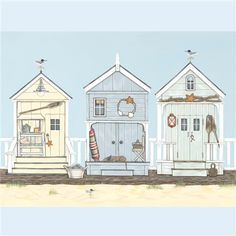 Sally Swannell - Beach Huts on the Boardwalk