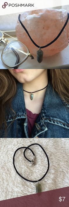 Gemstone choker Satin choker with a green Indian agate pendant Urban Outfitters Accessories