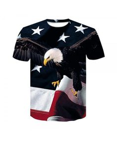 Lost Gods Fourth of July American Eagle Soar Mens Graphic T Shirt