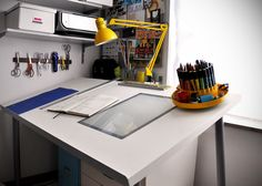 DIY lighted drafting table on the cheap: Sadly IKEA'S VIKA BLECKIT table is no longer available. :(
