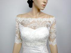 OffShoulder+Alencon+Lace+bolero+jacket+Bridal+Bolero+by+alexbridal,+$99.99