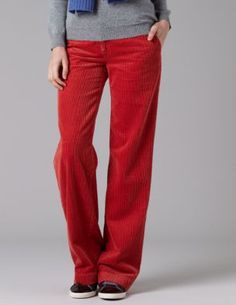 red flared cord trousers