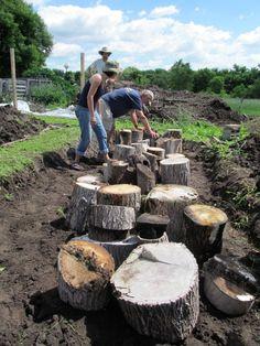 Hugelkultur under construction - Borner Permaculture Farm 9 Borner Community Farm PDC