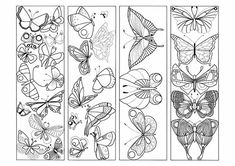 Printable Butterfly Bookmarks to Color Free Adult Coloring, Printable Adult Coloring Pages, Cute Coloring Pages, Coloring Pages To Print, Coloring Sheets, Coloring Books, Free Printable Bookmarks, Bookmarks Kids, Printable Book Marks