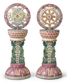 TWO FAMILLE-ROSE BUDDHIST ALTAR ORNAMENTS  LATE QING DYNASTY 1644–1912