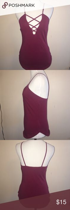 Sexy Maroon Top Super cute low cut top, form fitting and stretchy Express Tops