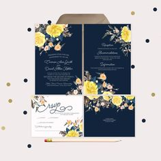 Navy Wedding Invitations · printable wedding invitations · beautiful floral yellow and peach watercolor by gwenmariedesigns