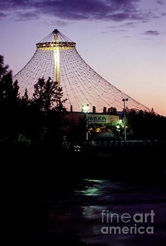 The Pavilion in Riverfront Park, Spokane Washington from the north side of the river at dusk.