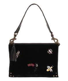 Larger velvet bag with insect embroidery and studded leather strap https://www.melaniepress.net/collections/accessory-collection/products/larger-velvet-bag-with-insect-embroidery-and-studded-leather-strap