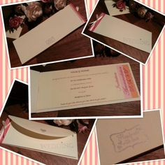 Wedding invitation i made for my friend. Who was brave and gave me only two instructions and no theme or colour preference (luckily i found some raffia that matched her bridesmaid dresses)Instuctions .... keep it simple & make it cheque book style. I think would emboss the stamping next time. I love the perforated inserts to detach the wedding info to put on my fridge and the RSVP to send back. xx