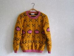 One of a kind! This sweater was inspired by Netflixs animated comedy Bojack Horseman and my creative customer! It is made of pink, mustard and