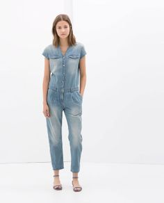 Image 1 of SHORT SLEEVE DENIM JUMPSUIT from Zara