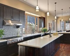 Exotic Wood Kitchen Cabinets : Contemporary Kitchen Design Included The Use Of Dark Espresso Cabinets With Light Quartz Countertops To Provi...