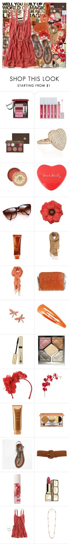 """""""when im with you"""" by brookalinaballerina ❤ liked on Polyvore featuring Christian Dior, FusionBeauty, philosophy, Anita Ko, Anthropologie, Forever 21, Clips, Lancaster, Yves Saint Laurent and Miss Selfridge"""