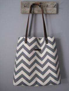 C H E V R O N tote bag / shoulder tote bag / gray and cream or black and white / other colors available. $65.00, via Etsy.