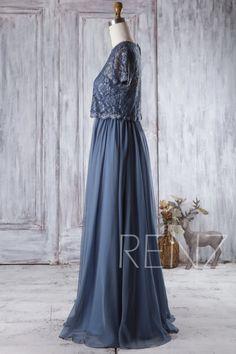 2017 Dark Steel Blue Bridesmaid DressShort Sleeve Detachable