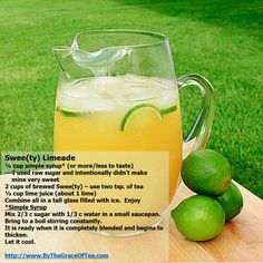 I created this new recipe yesterday using my tea, Swee(ty) and limeade. Wow - it was the perfect blend of tart and sweet. My Tea, Simple Syrup, Tea Recipes, Lime Juice, Brewing, Tart, Good Food, Sweet, Key Lime Juice