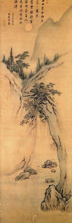 (Korea) 월만수만 from 주부자시의 by Danwon Kim Hong-do (1745- 1806). ca 18th century CE. light color on silk. 125 x 40.5cm, Lium gallery, Korea.